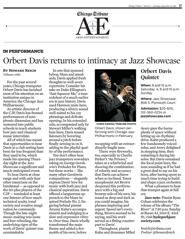Orbert Davis Quintet at Jazz Showcase - Chicago Tribune Review